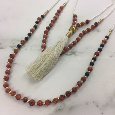 Mala Layered Tassel Necklace - White