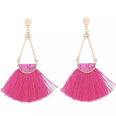 Mambo Marble Tassel Earrings - Raspberry