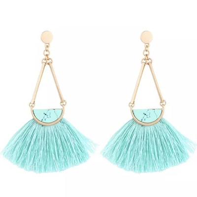 Mambo Marble Tassel Earrings - Tiffany
