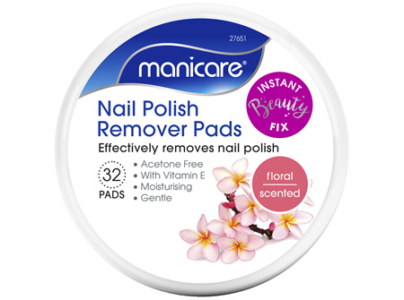 Manicare Nail Polish Remover Pads Floral 32 pack