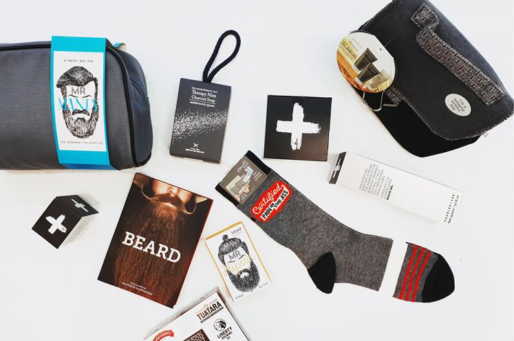 Manly gifts - hipsters, beards, sgaving gel, toilet bag, socks