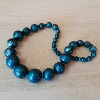Marbled Graduating Necklace - Teal WAS $25.90