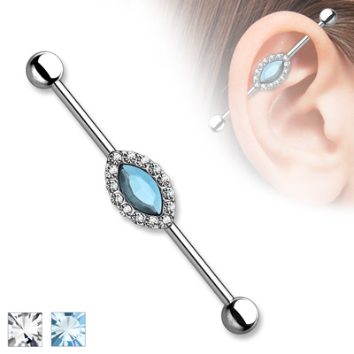 Marquise Crystal Centre CZ Industrial Bar
