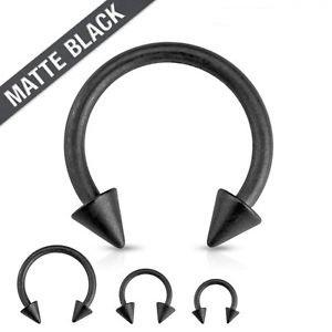 Matte Black IP Circular Barbell w/Spikes