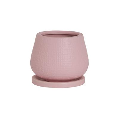Matte Ceramic Pot and Saucer - Pink Medium