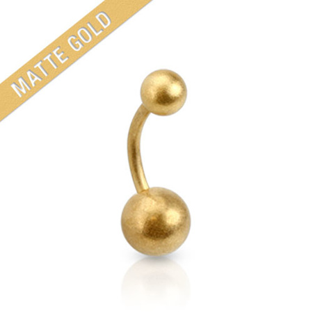 Matte Gold IP Navel Bar