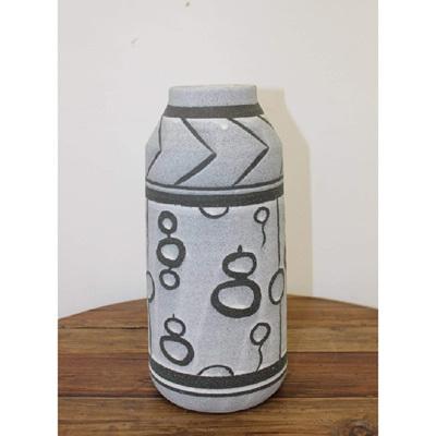 Mayam Ceramic Vase - Black & Grey - Large