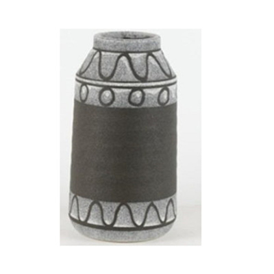 Mayam Ceramic Vase - Black & Grey/Small