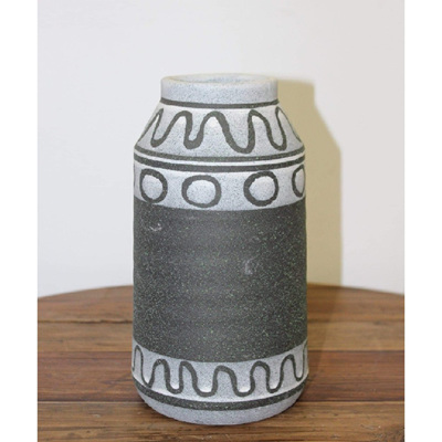 Mayam Ceramic Vase - Black & Grey - Small