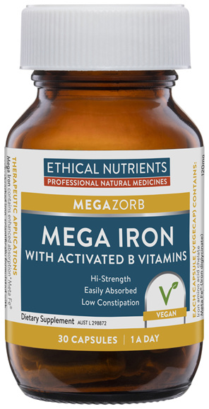 Mega Iron with Activated B Vitamins 30 Capsules