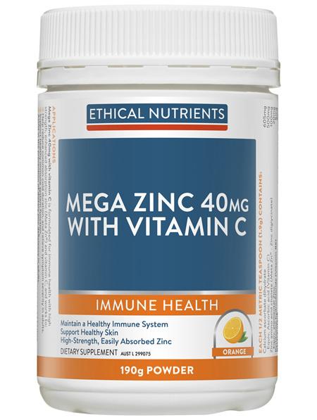 Mega Zinc 40mg with Vitamin C Orange 190g Powder