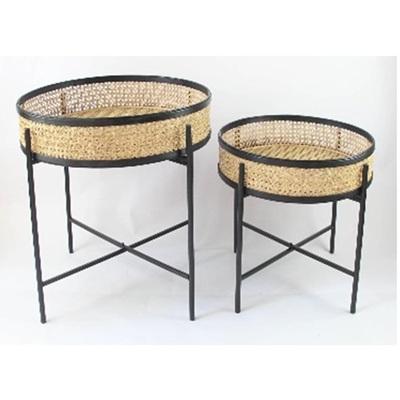 Meno Rattan & Metal Tables - Natural & Black