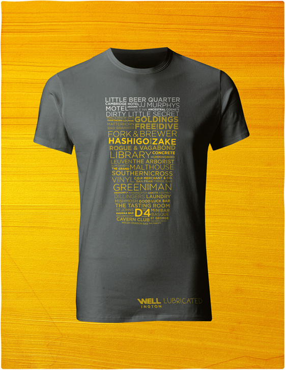 Men;s Wellington designer t-shirt featuring the best beer bars: WELL Lubricated