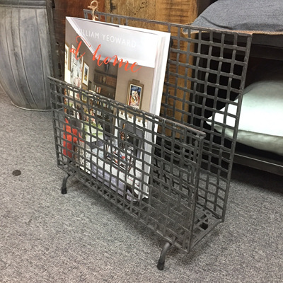 Metal Grid Magazine Rack - Black