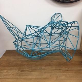 Metal Rhino Head - Turquoise