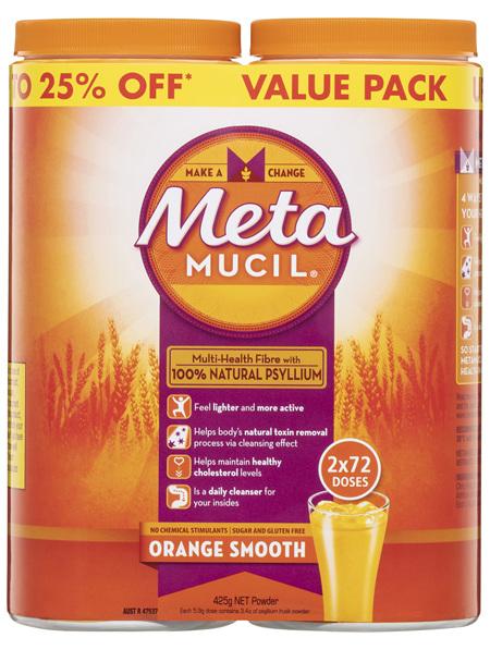 Metamucil Daily Fibre Supplement Orange 2 x 72 Doses
