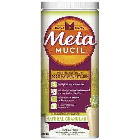 Metamucil Multi-Health Fibre with 100% Psyllium Natural Psyllium Natural Granular 72D