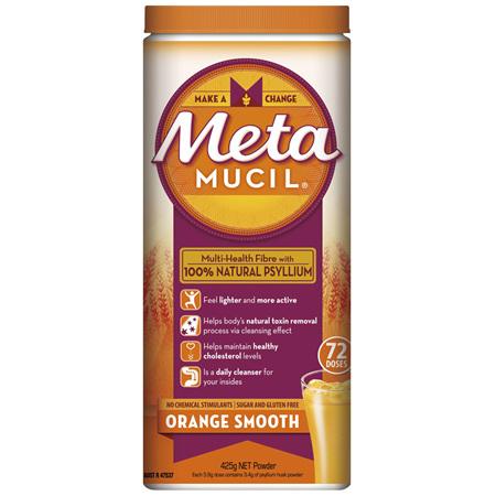 Metamucil Multi-Health Fibre with 100% Psyllium Natural Psyllium Orange Smooth 72D