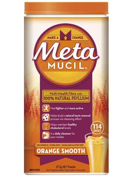 Metamucil Multi-Health Fibre with 100% Psyllium Natural Psyllium Orange Smooth 114D