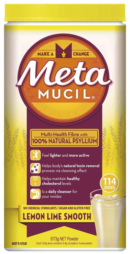 Metamucil Multi-Health Fibre with 100% Psyllium Natural Psyllium Lemon Lime Smooth 114D