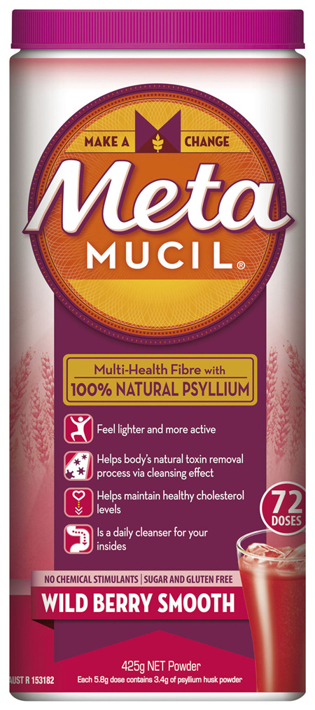 Metamucil Multi-Health Fibre with 100% Psyllium Natural Psyllium Wild Berry Smooth 72D