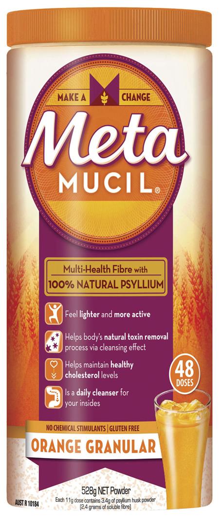 Metamucil Multi-Health Fibre with 100% Psyllium Natural Psyllium Orange Granular 48D