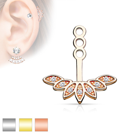Micro CZ Paved Peacock Feather Earring Jacket / Cartilage Stud Add on