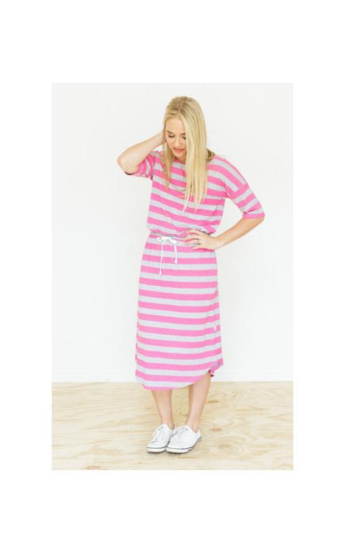 Midi Dress Grey and Pink Stripes Size 12