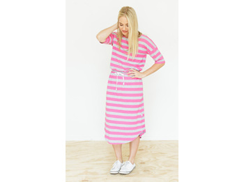 Midi Dress Grey and Pink Stripes Size 14