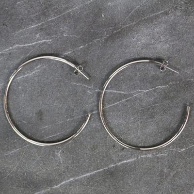 Mikaela Hoop Earrings - Steel