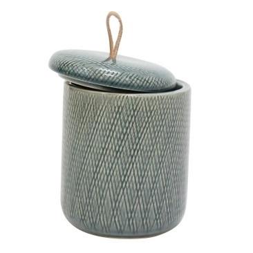 Mila Ceramic Jar W Leather Tab - Denim - 16.5cmh