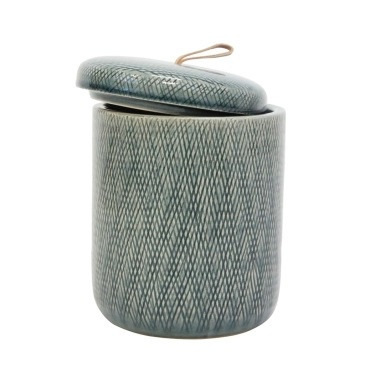 Mila Ceramic Jar W Leather Tab - Denim - 20.5cmh