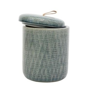 Mila Ceramic Jar W Leather Tab - Denim - 20.5cmh