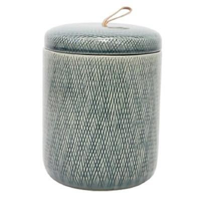 Mila Ceramic Jar W Leather Tab - Grey - Large