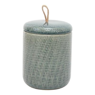 Mila Ceramic Jar W Leather Tab - Grey/Medium