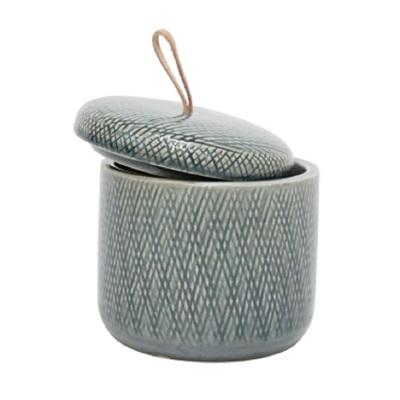 Mila Ceramic Jar W Leather Tab - Grey - Small
