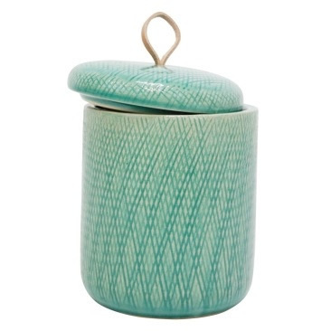 Mila Ceramic Jar W Leather Tab - Turquoise - 16.5cmh