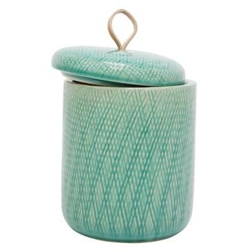 Mila Ceramic Jar W Leather Tab - Turquoise - 16.5cmh