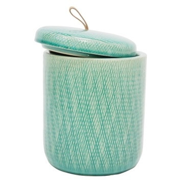 Mila Ceramic Jar W Leather Tab - Turquoise - 20.5cmh
