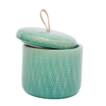 Mila Ceramic Jar W Leather Tab - Turquoise