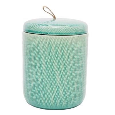 Mila Ceramic Jar W Leather Tab - Turquoise/Large