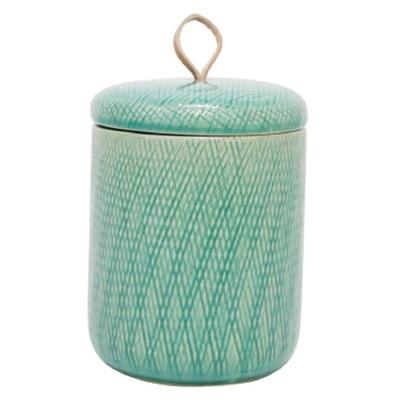 Mila Ceramic Jar W Leather Tab - Turquoise/Medium