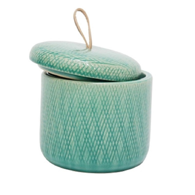 Mila Ceramic Jar W Leather Tab - Turquoise/Small