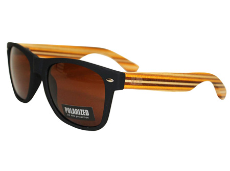 Moana Rd 50/50's Sunnies - Black with Striped Arms #452
