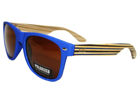 Moana Rd 50/50's Sunnies - Blue with Striped Arms #455