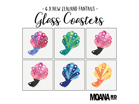 Moana Rd Glass Coasters - Fan Tails