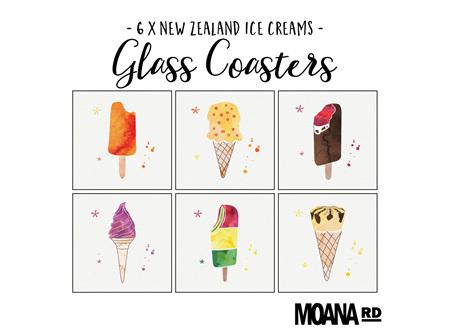 Moana Rd Glass Coasters - Ice Creams