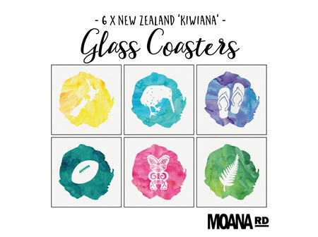 Moana Rd Glass Coasters - Kiwiana Watercolours