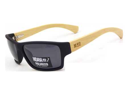 Moana Rd Tradies Sunnies - Black with Wooden Arms #3751
