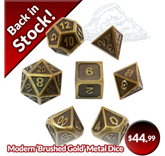 Modern Brushed Gold Metal Dice Back in Stock